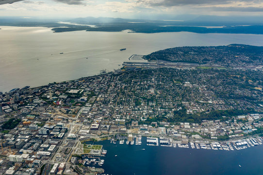 Aerial View of Seattle from Airplane in Washington United States of America
