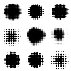 Abstract Halftone Backgrounds. Vector Set of Isolated Modern Design Element.