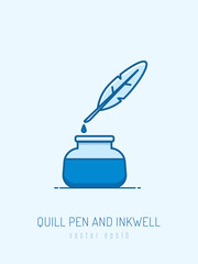 Quill pen and inkwell vector illustration in monoline style
