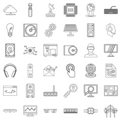 Hitech icons set, outline style