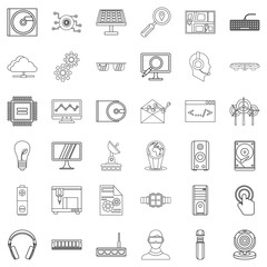 Battery icons set, outline style