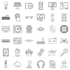 Solar battery icons set, outline style