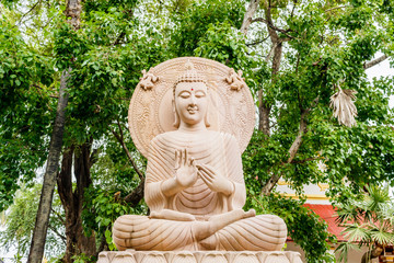 Buddha statue sitting under Bodhi tree
