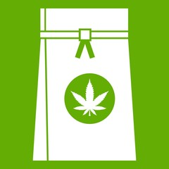Bag with cannabis icon green