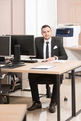 Businessman On A Break With His Computer