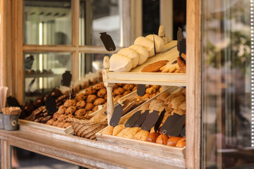 Different bakery products in street kiosk