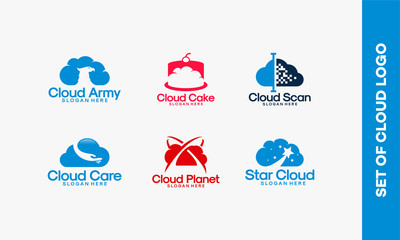Set Of Cloud Logo Concept designs, Set of Technology Cloud Logo template