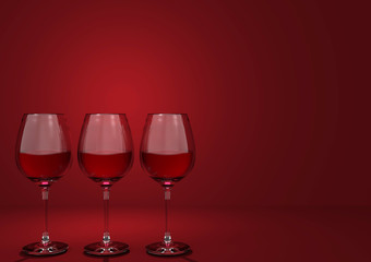 3d rendering. luxury red wine glasses row with copy space dark red background