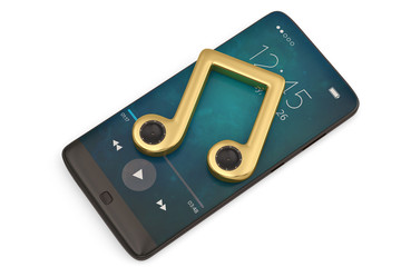 Speaker on music note and smart-phone audio concept.3D illustration.