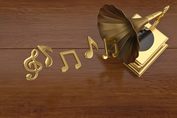 Gold gramophone and music notes.3D illustration.