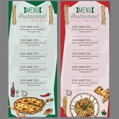 menu italian food template design hand drawing graphic