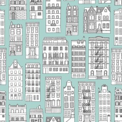Seamless pattern with little hand drawn houses, blue background