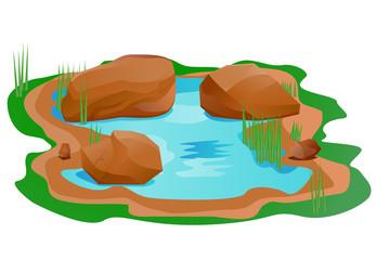 Pond with brown rock or boulder vector image