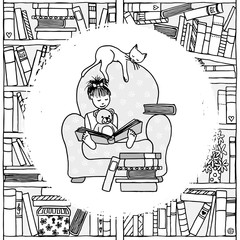 Illustration of a cute girl sitting in a huge armchair with her teddy and her pet cat, reading a book, black and white