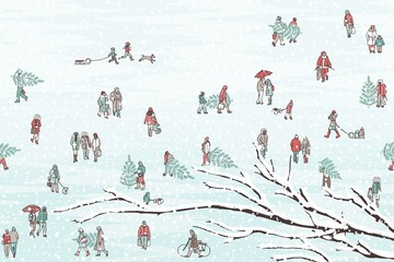Hand drawn illustration of tiny pedestrians walking in winter through the city: small people wearing warm winter coats and carrying Christmas trees