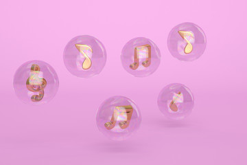 Golden notes in the bubble 3d illustration.