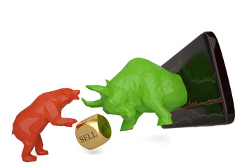 Stock concept smart phone and bull and bear 3d illustration.