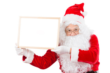 Merry christmas,Santa Claus pointing in white blank sign,Isolated on white background.