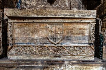 Medieval tomb in the Monastery of Santa Clara-a-Velha. Coimbra, Portugal.