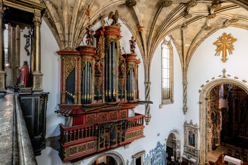 Baroque pipe organ of the 18th century inside the Monastery of Santa Cruz in Coimbra, Portugal.