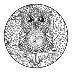 Owl. Mandala. Zentangle. Hand drawn circle zendala with abstract patterns on isolation background. Design for spiritual relaxation for adults. Line art. Black and white illustration for coloring.