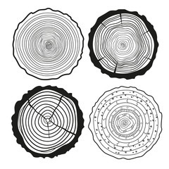 Tree rings. Set of cross section of the tree.Set of tree rings on isolation background. Conceptual graphics. Line art. Objects for design. Decorative style.Outline for printing, posters and other