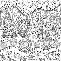 Abstract eastern pattern. 2018 New Year. Hand drawn texture with abstract patterns on isolation background. Design for spiritual relaxation for adults. Line art creation. Greeting cards. Zen art