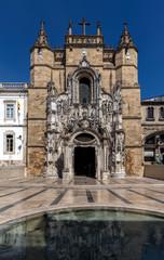 Main facade of Santa Cruz Monastery. Coimbra, Portugal.