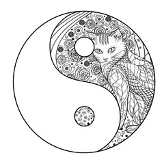 Cat. Yin and Yang. Zentangle. Hand drawn mandala with cat on isolation background. Design for spiritual relaxation for adults. Line art creation. Black and white illustration for coloring. Zen art