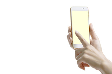 smartphone with yellow screen at isolated bacground