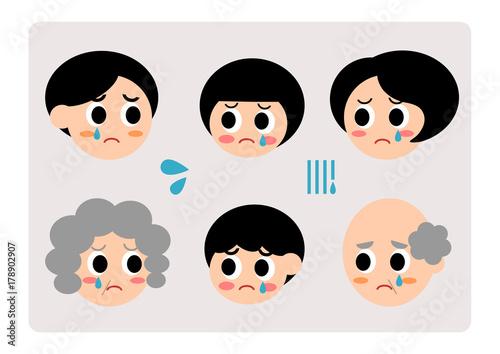 家族 表情 イラスト 悲しい 泣くfotoliacom の ストック画像と