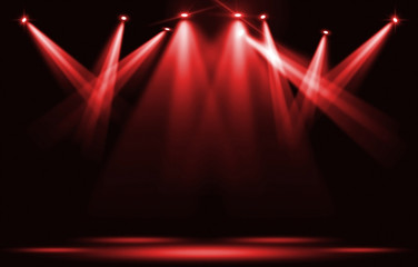 Poster Lumiere, Ombre Stage lights. Red spotlight strike through the darkness.