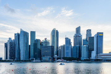 Scenic Singapore skyline. View of downtown with skyscrapers