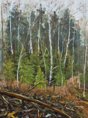 Original plein air oil painting Early spring in the forest on canvas. Beautiful Late autumn landscape - Forest, trees, bushes, birches, Christmas trees. Modern impressionism painting.