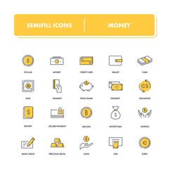 Line icons set. Money