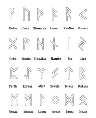 Rune set of outline letters, alphabet on white background. Runic alphabet. Writing ancient. Futhark. Vector illustration.