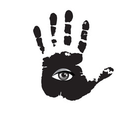 Black and white illustration of hand print with all seeing eye inside isolated on white background.