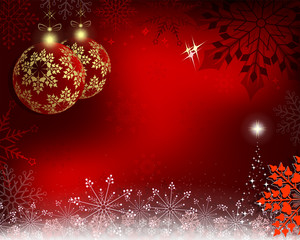 Christmas background with red balls with golden snowflakes