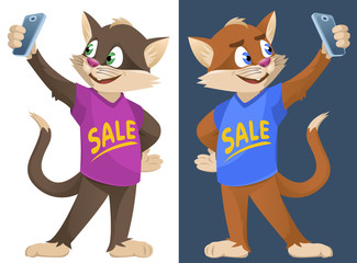 Sale. Funny cartoon cats in colorful T-shirts making selfie. Cartoon styled vector illustration. No transparent objects. Elements is grouped. On dark background and isolated on white.