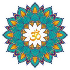 Mandala. Isolated Ethnic round ornament with om symbol.