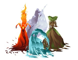 air, earth, fire and water elementals fantasy creatures