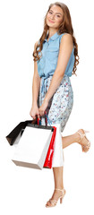 happy young woman carry shopping bags