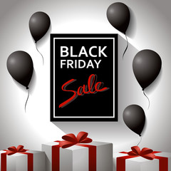 Black friday concept. Template poster with black balloons and gifts