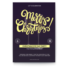 Merry Christmas, template of greetings poster with place for text. Handwritten lettering design on dark background. Mock-up for creative arts, print design for Christmas events