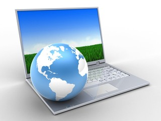3d laptop and earth globe