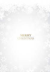Christmas light background with white snowflakes and golden Merry Christmas text - light version