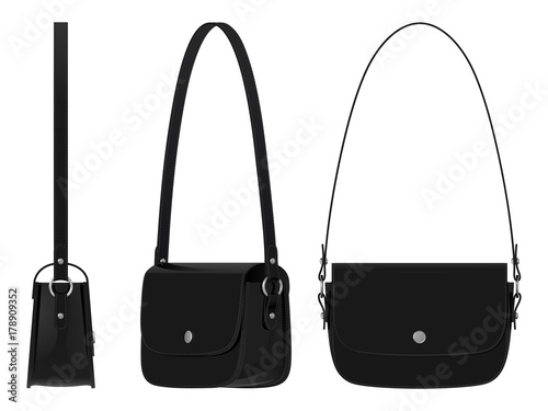 12f650df1229 Черная женская кожаная сумка с ремнем для ношения на плече и магнитной  застежкой, вид сверху
