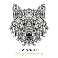 Creative stylized dog. Good for logo, tattoo, t-shirt design. Animal background. Vector illustration