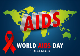 World AIDS Day. Red Ribbon Sign