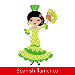 Girl in green flamenco dress